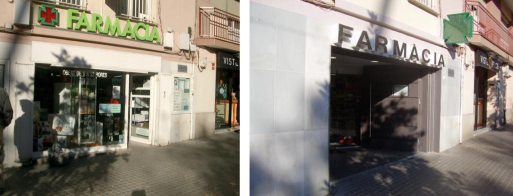 Adecuación de interiores y fachada de farmacia. Barcelona, España.